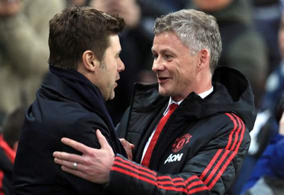 BOSSES Tottenham Hotspur manager Mauricio Pochettino with Manchester United's interim manager Ole Gunnar Solskjaer